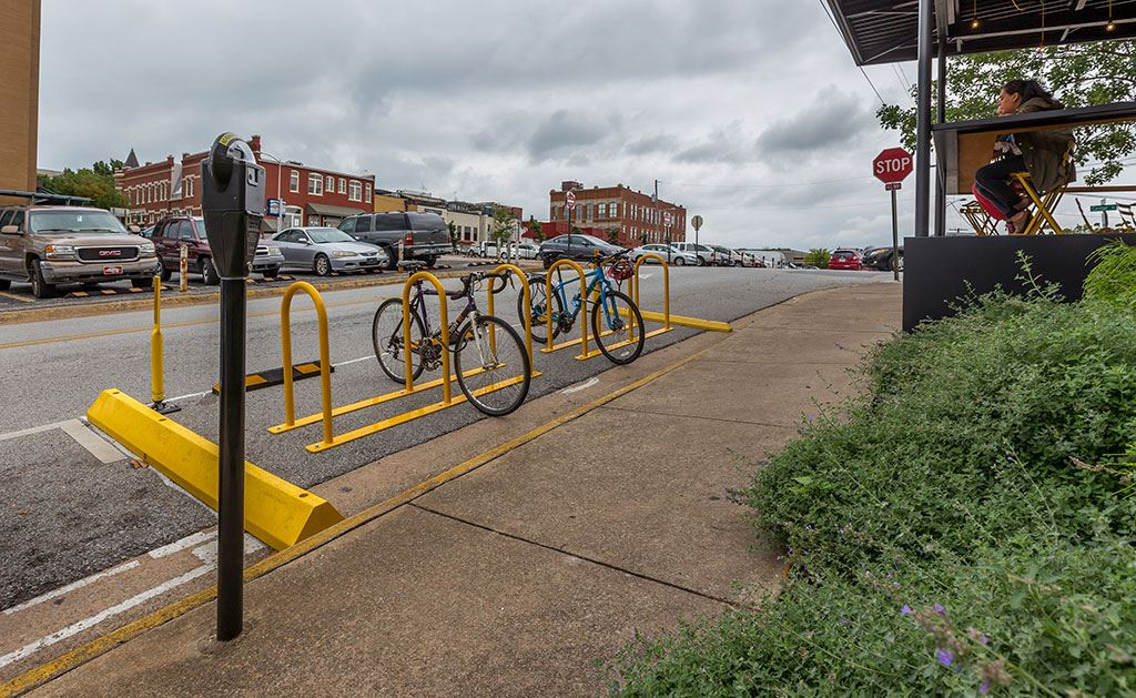 Fayetteville's first on-street bike corral