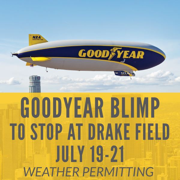 Goodyear blimp at Drake Field