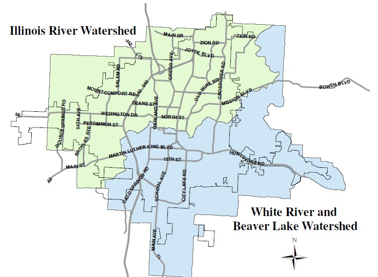 Map of the Illinois River Watershed and White River and Beaver Lake watershed.
