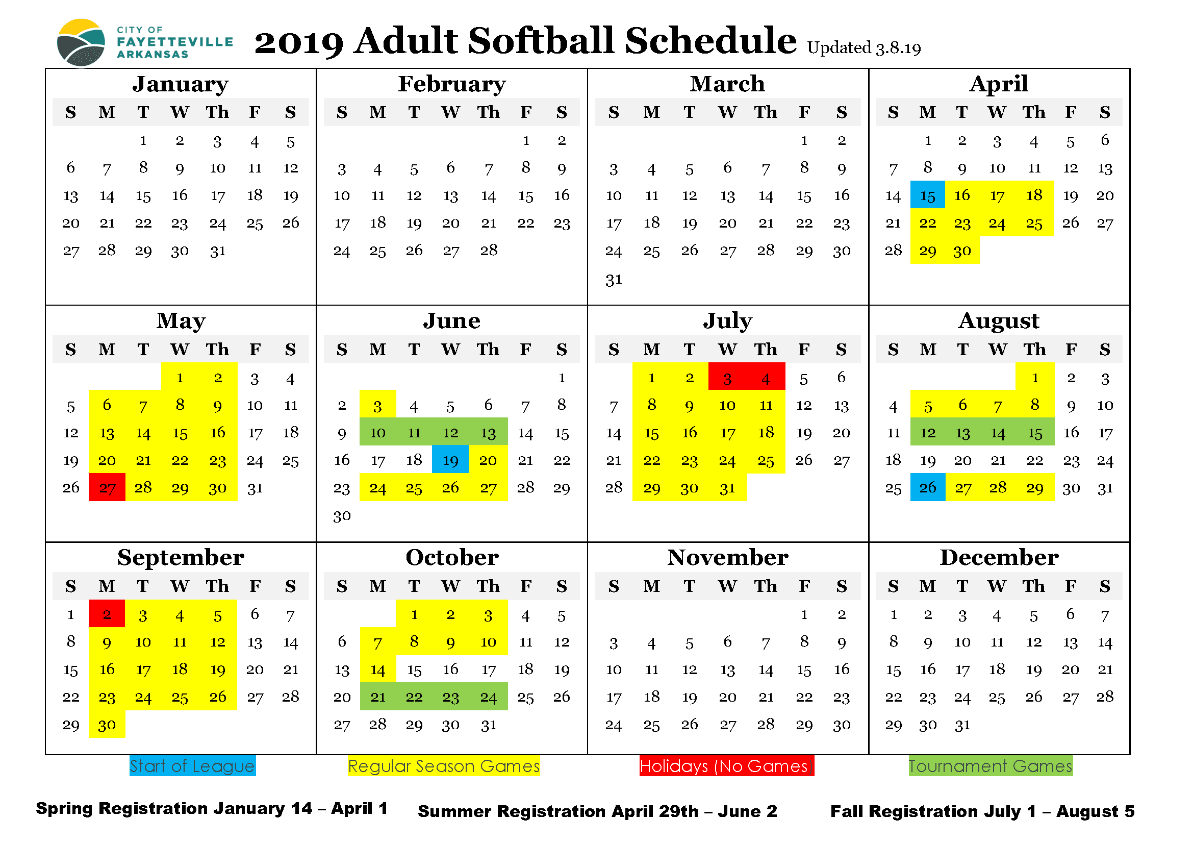 2019 Adult Softball Schedule