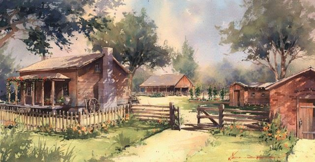 An artist's watercolor rendering of the Woolsey family Homestead restored