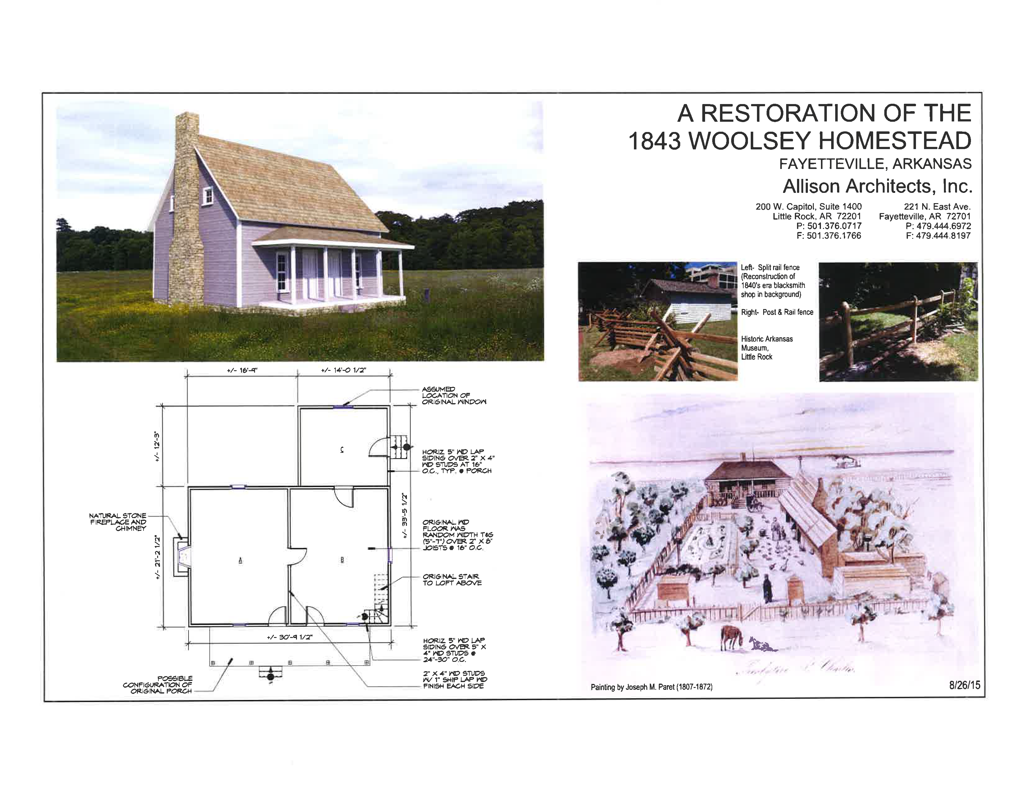 An artist's rendering of the Woolsey farmstead after reconstruction, with floorplan