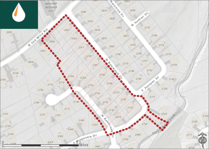 Map of Boxwood Addition affected area