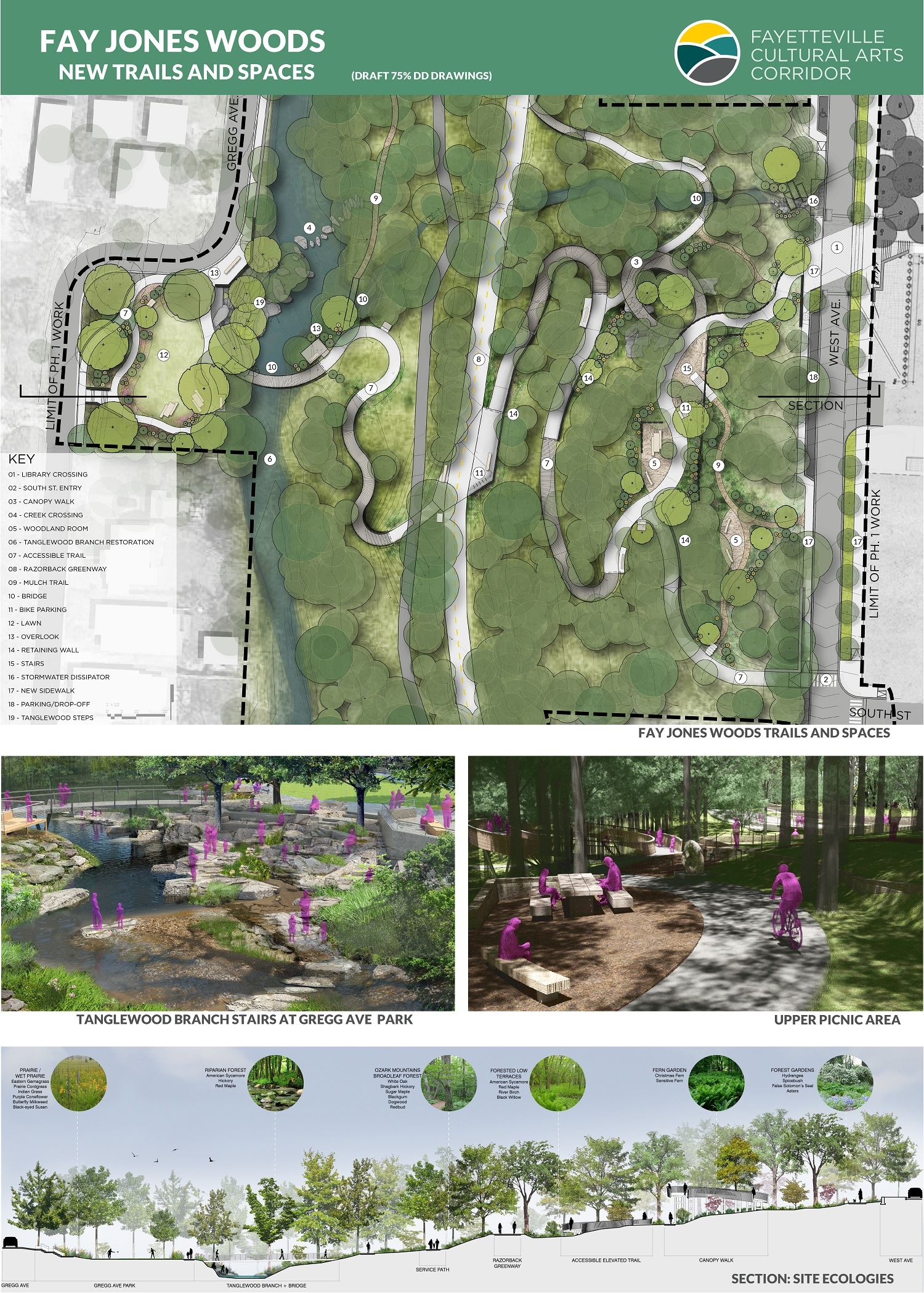Images of Fay Jones Woods, new trails and spaces drawings