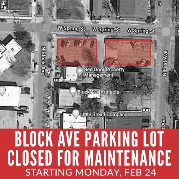 Block Ave Parking Lot Closed for Maintenance