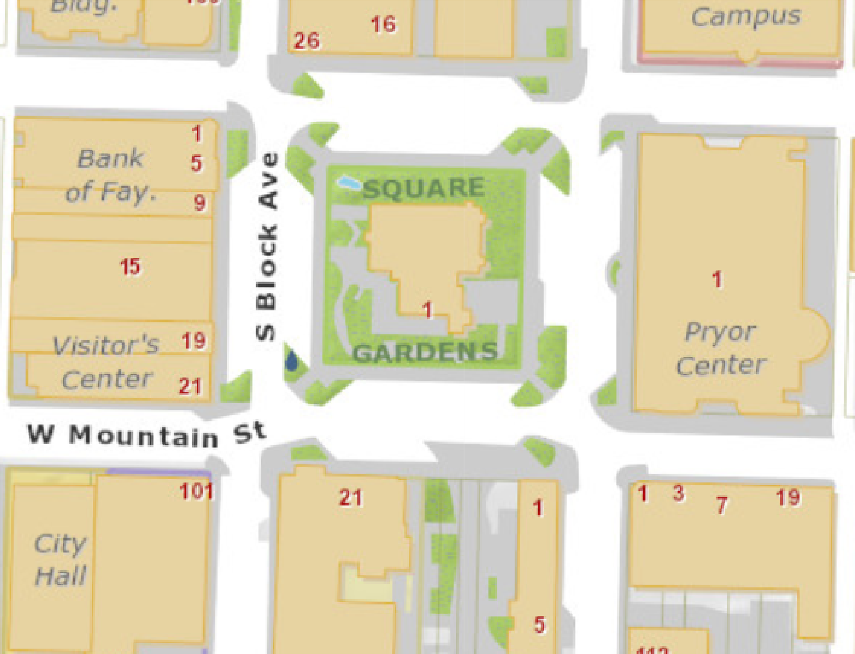Map showing location of Square Gardens