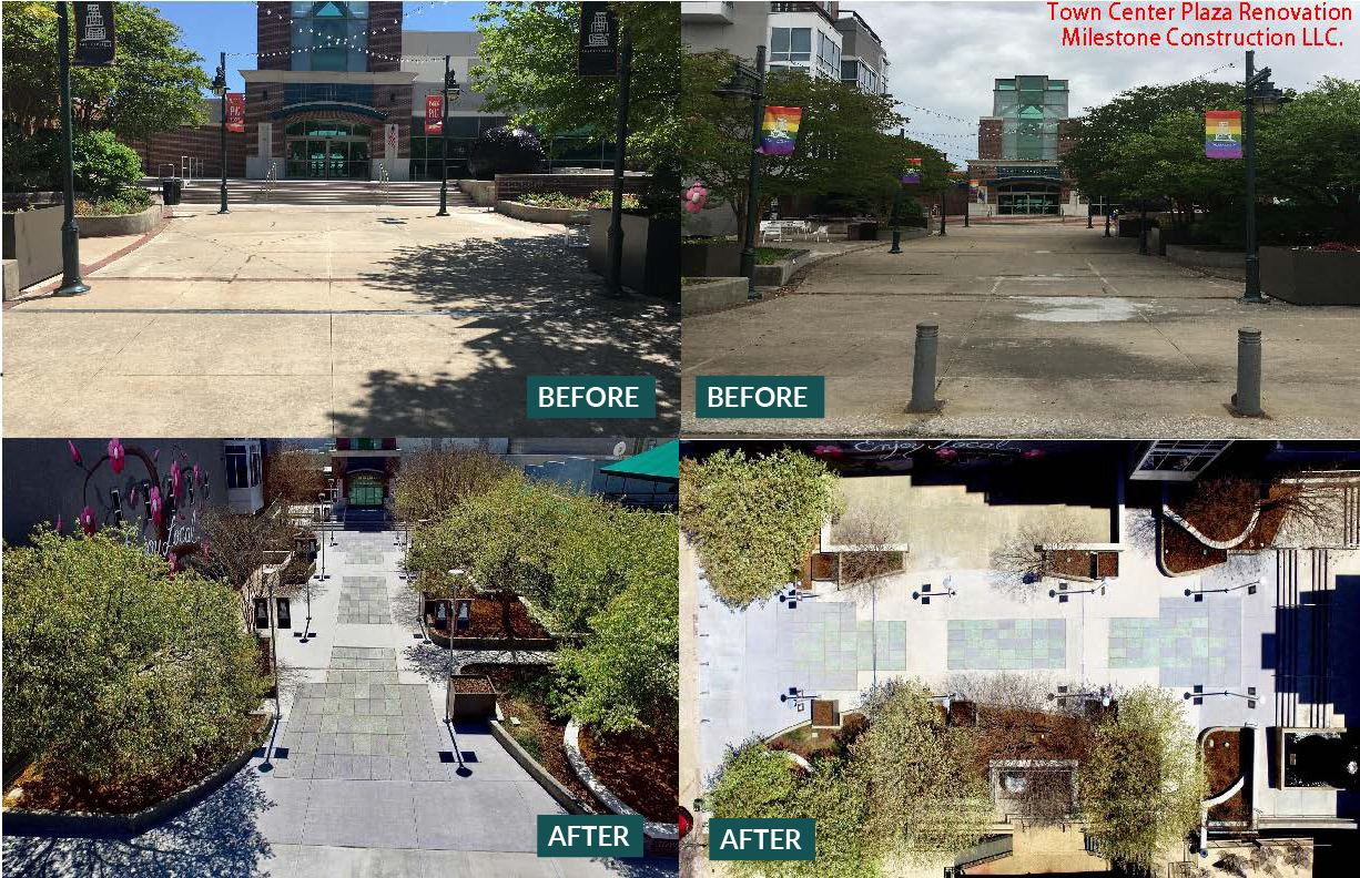Photographs of Town Center entrance before and after bond project improvements.