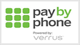 "Pay-by-Phone program logo with text ""Pay-by-Phone Powered by Verrus"""
