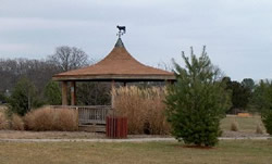 Gazebo with camel colored roof sits surrounded by trees and park lawn